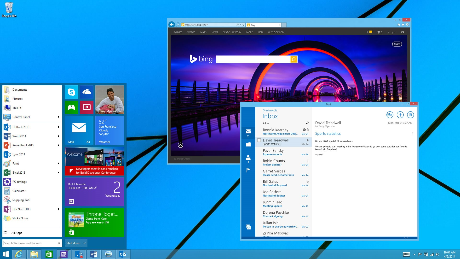 windows 9 menu bar